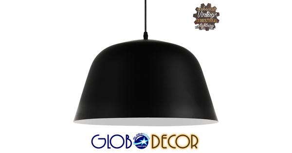 Μοντέρνο Κρεμαστό Φωτιστικό Οροφής Μονόφωτο Μαύρο Μεταλλικό Καμπάνα Φ40  EASTVALE 01281