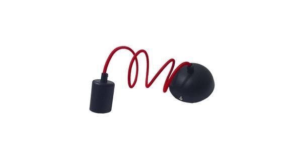 Κρεμαστό Φωτιστικό με Υφασμάτινο Κόκκινο Καλώδιο με Μάυρο Ντουί Ε27  90001