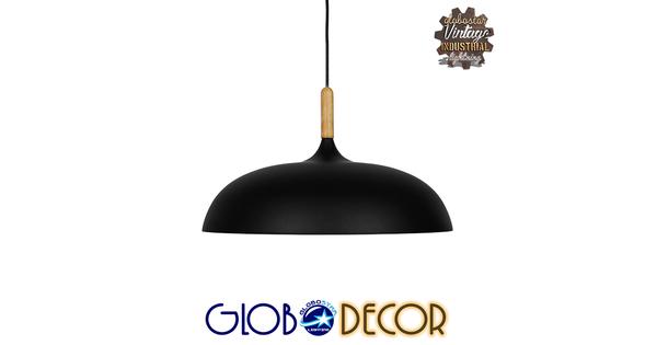 Μοντέρνο Κρεμαστό Φωτιστικό Οροφής Μονόφωτο Μαύρο Μεταλλικό Καμπάνα Φ45  VALLETE BLACK 01258