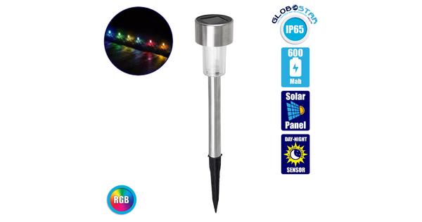 71522 Αυτόνομο Ηλιακό Φωτιστικό LED SMD 1W 90lm με Ενσωματωμένη Μπαταρία 600mAh - Φωτοβολταϊκό Πάνελ με Αισθητήρα Ημέρας-Νύχτας Αδιάβροχο IP65 Φανάρι Κήπου Στρογγυλό Πολύχρωμο RGB