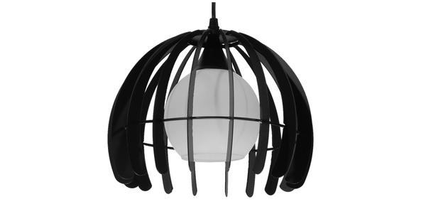 Μοντέρνο Κρεμαστό Φωτιστικό Οροφής Μονόφωτο Μαύρο Μεταλλικό Πλέγμα με Λευκό Γυαλί Φ26 GloboStar INGLEY 01226