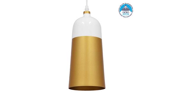 Μοντέρνο Κρεμαστό Φωτιστικό Οροφής Μονόφωτο Λευκό - Χρυσό Μεταλλικό Καμπάνα Φ14 GloboStar PALAZZO GOLD WHITE 01524