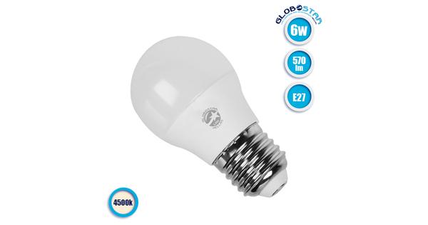 Γλομπάκι LED G45 με βάση E27 6 Watt 230v Ημέρας  01710