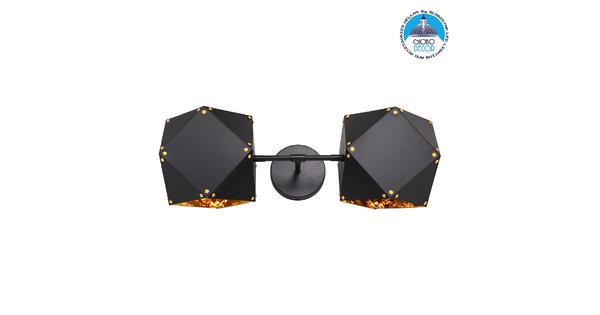 WELLES Replica 00795 Μοντέρνο Φωτιστικό Τοίχου Απλίκα Δίφωτο Μεταλλικό Μαύρο Χρυσό Μ52 x Π21 x Υ17cm