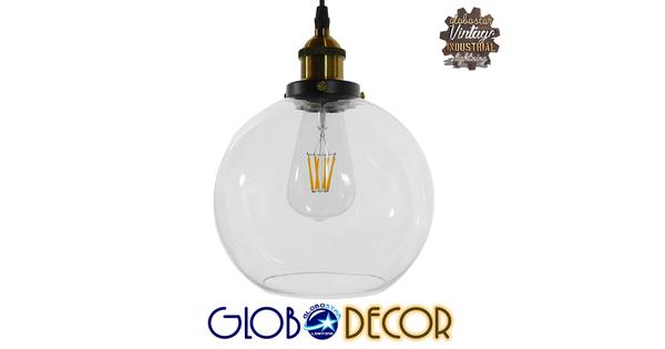 Vintage Κρεμαστό Φωτιστικό Οροφής Μονόφωτο Γυάλινο Καμπάνα Φ18  COLLINS 01170
