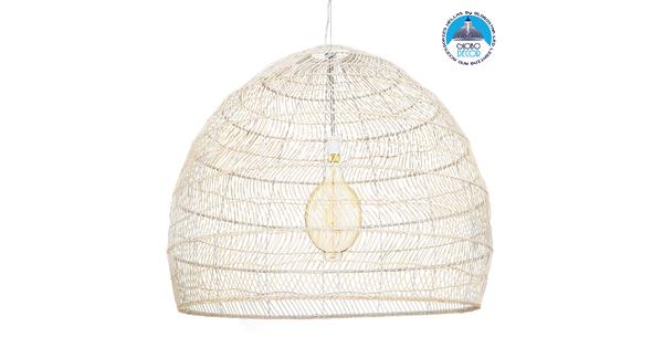 GloboStar® MALIBU 00965 Vintage Κρεμαστό Φωτιστικό Οροφής Μονόφωτο Μπεζ Ξύλινο Bamboo Φ97 x Y86cm