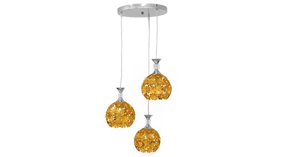 Μοντέρνο Κρεμαστό Φωτιστικό Οροφής Τρίφωτο Χρυσό Μεταλλικό με Κρύσταλλα Φ50  MARGARITA 01670