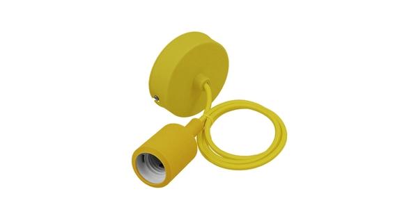 Κίτρινο Κρεμαστό Φωτιστικό Οροφής Σιλικόνης με Υφασμάτινο Καλώδιο 1 Μέτρο E27  Yellow 91006