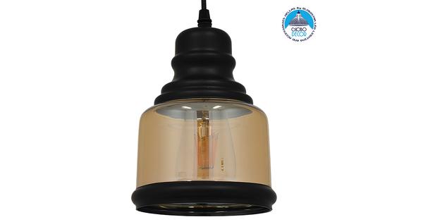 Vintage Κρεμαστό Φωτιστικό Οροφής Μονόφωτο Γυάλινο Μελί Διάφανο Φ15  WILLIAM 01506