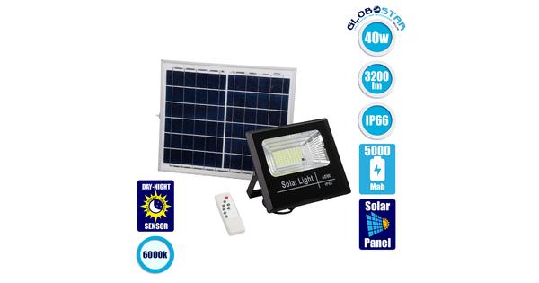 71555 Αυτόνομος Ηλιακός Προβολέας LED SMD 40W 3200lm με Ενσωματωμένη Μπαταρία 5000mAh - Φωτοβολταϊκό Πάνελ με Αισθητήρα Ημέρας-Νύχτας και Ασύρματο Χειριστήριο RF 2.4Ghz Αδιάβροχος IP66 Ψυχρό Λευκό 6000K