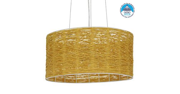 Vintage Κρεμαστό Φωτιστικό Οροφής Μονόφωτο Καφέ Ξύλινο Bamboo Φ40  MADAGASKAR 01630