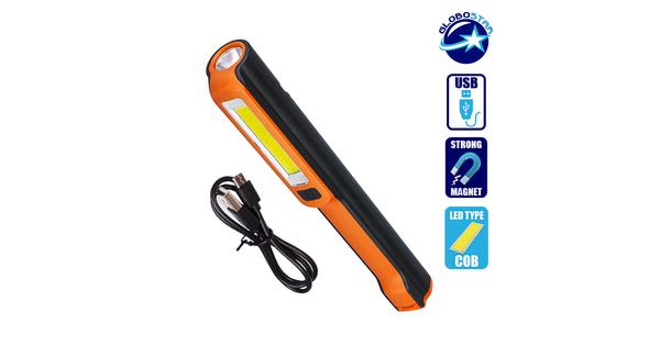 Φορητός Φακός Επαναφορτιζόμενος με Μπαταρίες PEN COB LED και Φορτιστή USB Πορτοκαλί Χρώμα  07006