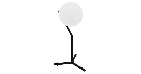 Μοντέρνο Επιτραπέζιο Φωτιστικό Πορτατίφ Μονόφωτο Μαύρο Μεταλλικό με Λευκό Γυαλί Φ23 GloboStar ELFRIS 01100
