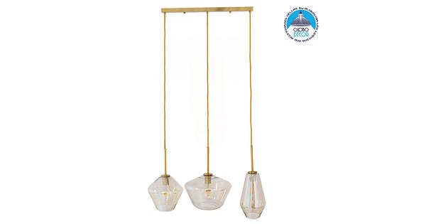 Μοντέρνο Κρεμαστό Φωτιστικό Οροφής Τρίφωτο Μελί Χρυσό με Γυαλί GloboStar KETALIN 00977