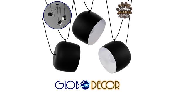 SET 3 Μοντέρνα Κρεμαστά Φωτιστικά Οροφής Μονόφωτα Μαύρα Λευκά Μεταλλικά Καμπάνα Φ25  LACRIMA 01375