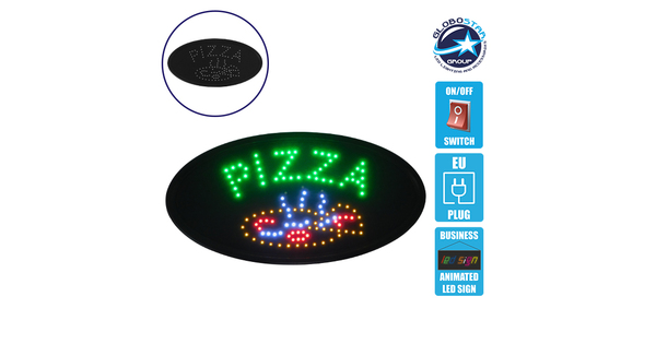 Φωτιστικό LED Σήμανσης Οβάλ PIZZA με Διακόπτη ON/OFF και Πρίζα 230v 48x2x25cm GloboStar 96301