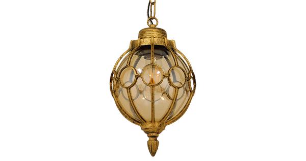 Vintage Κρεμαστό Φωτιστικό Οροφής Μονόφωτο Μπρονζέ Χρυσό Μεταλλικό Πλέγμα με Μελί Γυαλί Φ18 GloboStar ETOILE 00988