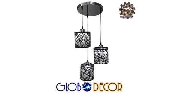 Μοντέρνο Κρεμαστό Φωτιστικό Οροφής Τρίφωτο Μαύρο Μεταλλικό Πλέγμα με Λευκό Γυαλί Φ40 GloboStar RAINELDA 01246