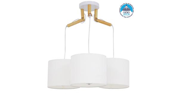 Μοντέρνο Κρεμαστό Φωτιστικό Οροφής Τρίφωτο Λευκό με Ξύλο και Υφασμάτινα Καπελα Φ67 GloboStar RAMSON WHITE 01526