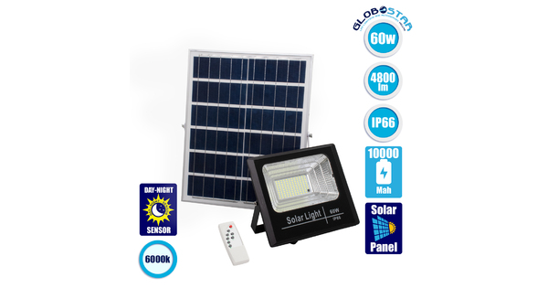 71556 Αυτόνομος Ηλιακός Προβολέας LED SMD 60W 4800lm με Ενσωματωμένη Μπαταρία 10000mAh - Φωτοβολταϊκό Πάνελ με Αισθητήρα Ημέρας-Νύχτας και Ασύρματο Χειριστήριο RF 2.4Ghz Αδιάβροχος IP66 Ψυχρό Λευκό 6000K