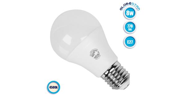 Γλόμπος LED A60 με βάση E27 8 Watt 230v Ημέρας GloboStar 01722
