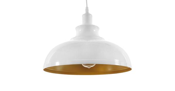 Μοντέρνο Κρεμαστό Φωτιστικό Οροφής Μονόφωτο Λευκό Χρυσό Μεταλλικό Καμπάνα Φ35  OBERYN 00999