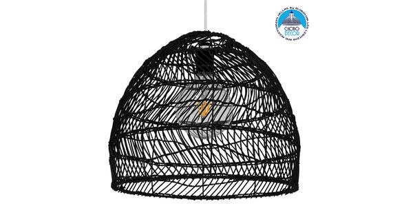 Vintage Κρεμαστό Φωτιστικό Οροφής Μονόφωτο Μαύρο Ξύλινο Bamboo Φ40cm  COMORES BLACK 00969