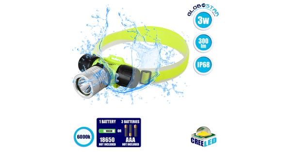 79054 EXTREME Αδιάβροχος Φακός Κεφαλής LED CREE XHP50 3W 300lm IP68 Ψυχρό Λευκό 6000K