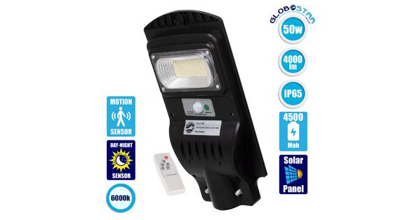 71550 Αυτόνομο Ηλιακό Φωτιστικό Δρόμου Street Light All In One LED SMD 50W 4000lm με Ενσωματωμένη Μπαταρία Li-ion 4500mAh - Φωτοβολταϊκό Πάνελ με Αισθητήρα Ημέρας-Νύχτας PIR Αισθητήρα Κίνησης και Ασύρματο Χειριστήριο RF 2.4Ghz Αδιάβροχο IP