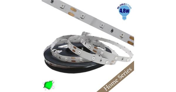 Ταινία LED Λευκή Home Series 5m 4.8W/m 12V 60LED/m 2835 SMD 200lm/m 120° IP20 Πράσινο GloboStar 33405