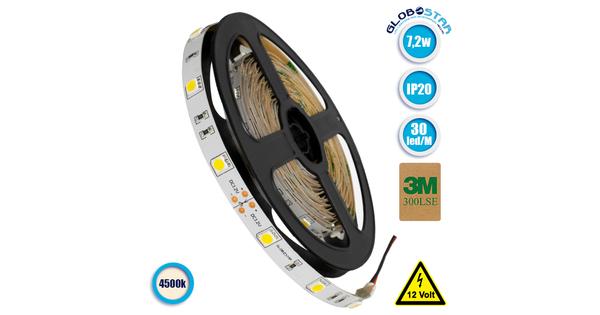 Ταινία LED 5050 SMD 5m 7.2W/m 30LED/m 505 lm/m 120° DC 12V IP20 Φυσικό Λευκό 4500k GloboStar 70011