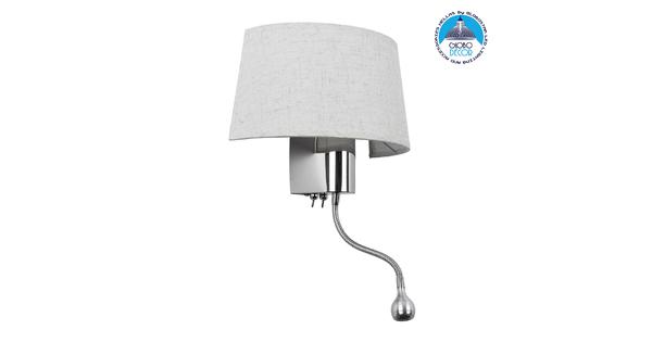 ELEGANT 01493 Μοντέρνο Φωτιστικό Τοίχου Απλίκα Δίφωτο Μεταλλικό με Λευκό Ύφασμα και Βραχίονα με LED Μ26.5 x Π15 x Υ43cm