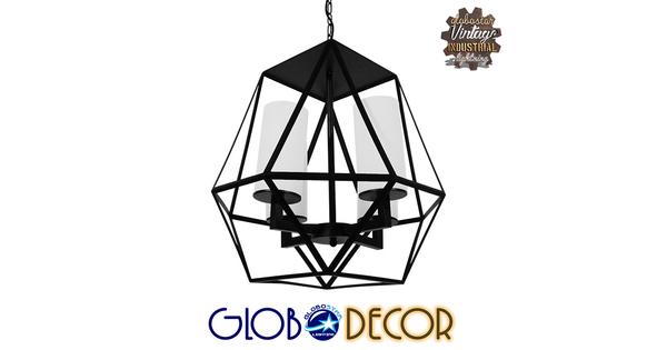 Vintage Industrial Κρεμαστό Φωτιστικό Οροφής Πολύφωτο Μαύρο Μεταλλικό Πολυέλαιος Φ52  AVENUE 01001