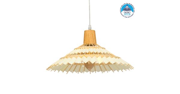 VENTALIA 00897 Vintage Κρεμαστό Φωτιστικό Οροφής Μονόφωτο Μπεζ Ξύλινο Bamboo Φ40 x Y22cm