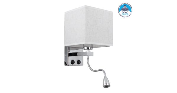 ELEGANT 01495 Μοντέρνο Φωτιστικό Τοίχου Απλίκα Μεταλλικό Χρώμιο Νίκελ με Λευκό Ύφασμα Δίφωτο 1xE27 - Ρυθμίζόμενο Σώμα Σπιράλ με CREE LED 3W Θερμό Λευκό 2700K - Διακόπτες On / Off Μ17 x Π21 x Υ43cm