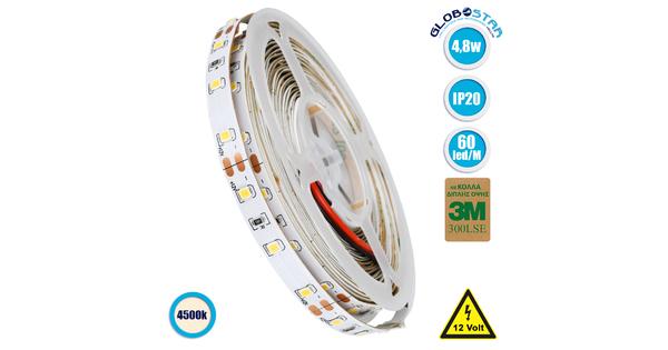 70001 Ταινία LED SMD 3528 5m 4.8W/m 60LED/m 442lm/m 120° DC 12V IP20 Φυσικό Λευκό 4500K - 5 Χρόνια Εγγύηση