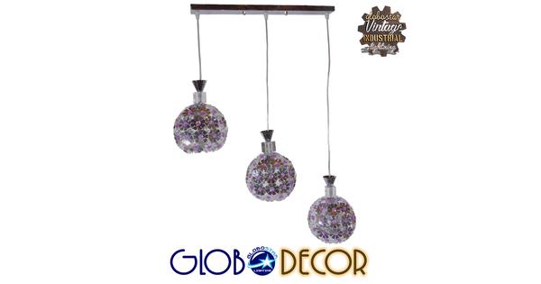 Μοντέρνο Κρεμαστό Φωτιστικό Οροφής Τρίφωτο Ασημί Μεταλλικό με Κρύσταλλα  ILLUME 01249