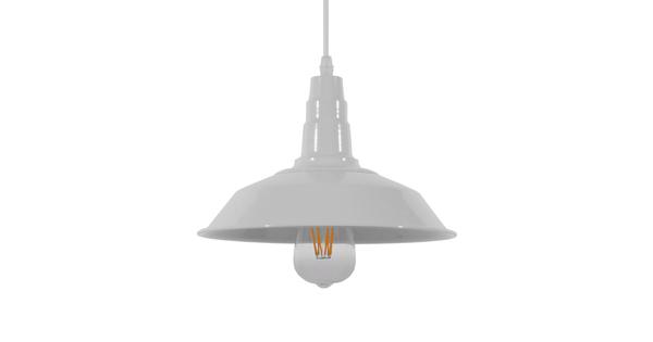 Vintage Industrial Κρεμαστό Φωτιστικό Οροφής Μονόφωτο Λευκό Μεταλλικό Καμπάνα Φ26  RAY WHITE 01044