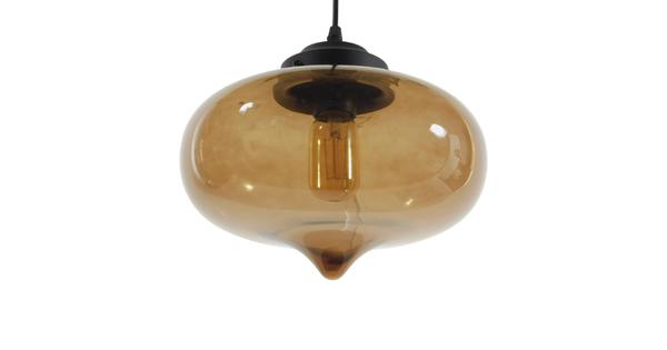 Vintage Κρεμαστό Φωτιστικό Οροφής Μονόφωτο Γυάλινο Φιμέ Καφέ Φ26  POMEGRANATE 01029