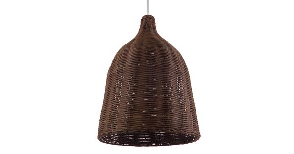 Vintage Κρεμαστό Φωτιστικό Οροφής Μονόφωτο Καφέ Σκούρο Ξύλινο Ψάθινο Rattan Φ30  NELLY 01367