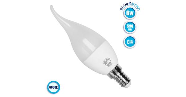 Λάμπα LED E14 Κεράκι C37T 6W 230V 590lm 260° Ψυχρό Λευκό 6000k GloboStar 01691