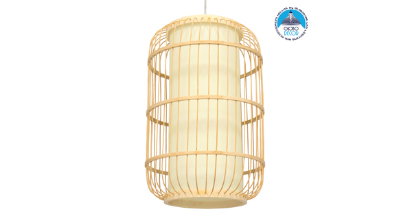 DE PARIS 00893 Vintage Κρεμαστό Φωτιστικό Οροφής Μονόφωτο Μπεζ Ξύλινο Bamboo Φ25 x Υ42cm