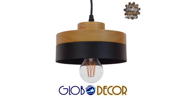 Μοντέρνο Κρεμαστό Φωτιστικό Οροφής Μονόφωτο Μαύρο Μεταλλικό με Φυσικό Ξύλο Καμπάνα Φ18  RUHIEL 01233