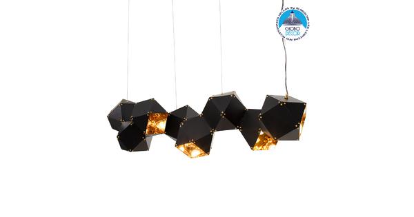 WELLES Replica 00798 Μοντέρνο Κρεμαστό Φωτιστικό Οροφής Πολύφωτο Μεταλλικό Μαύρο Χρυσό Μ130 x Π32 x Υ30cm