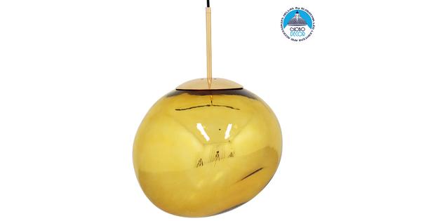 Μοντέρνο Κρεμαστό Φωτιστικό Οροφής Μονόφωτο Γυάλινο Χρυσό Φ36 GloboStar DIXXON GOLD 01466