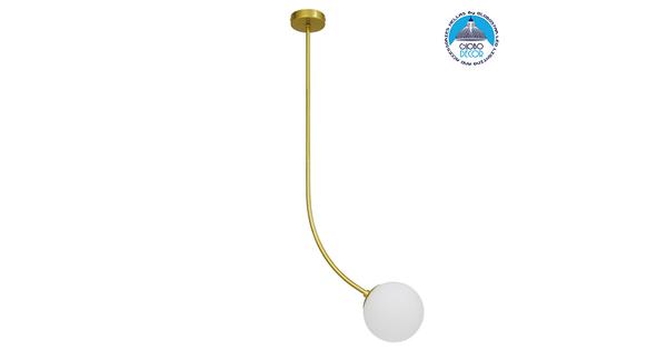 Μοντέρνο Φωτιστικό Οροφής Μονόφωτο Χρυσό 100cm με Λευκό Ματ Γυαλί Φ15  DRIZZLE 100cm 00921