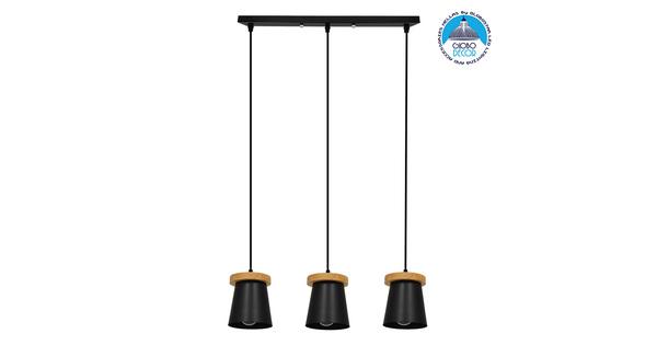 ΣΕΤ Μοντέρνο Κρεμαστό Φωτιστικό Οροφής Τρίφωτο με Ξύλινη Βάση και Μαύρο Καπέλο Ø13xΜ58xY17cm GloboStar SET LANA 01425