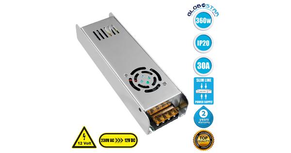 GloboStar® 73005 Τροφοδοτικό LED Ultra Slim 360W DC 12V 30A IP20 Μ22.5 x Π6.8 x Υ4cm