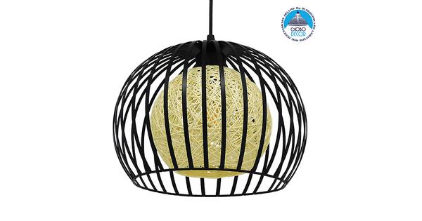 Μοντέρνο Industrial Κρεμαστό Φωτιστικό Οροφής Μονόφωτο Μαύρο με Εκρού Μεταλλικό Πλέγμα Φ28  CARTER Φ28 00960