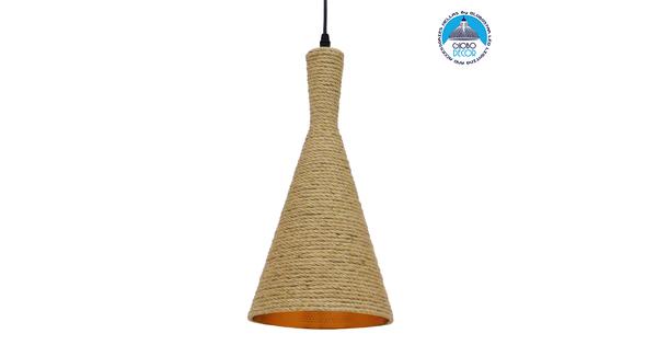 Vintage Κρεμαστό Φωτιστικό Οροφής Μονόφωτο με Μπεζ Σχοινί Καμπάνα  BEIJING Φ20 00918